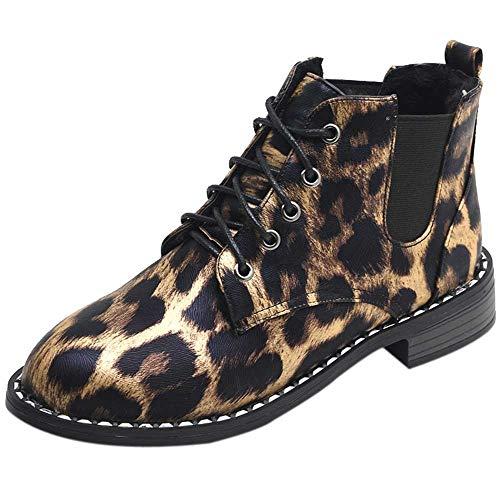(MYMYG Chelsea Boots Mode Frauen Bogen Spitze Stiefeletten Flache Beiläufige Wildleder Einzelne Stiefel Leopard Schuhe für Walking Sports Joggingschuhe Atmungsaktiv)