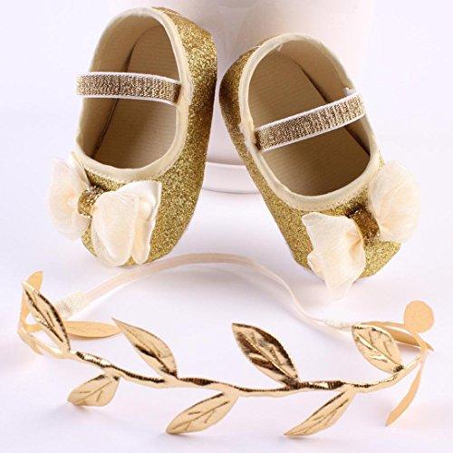 Babyschuhe,Amlaiworld Baby Mädchen Blume Schuhe Sneaker Anti-Rutsch-Hand weiche Schuhe + 1pc Haarband Gold