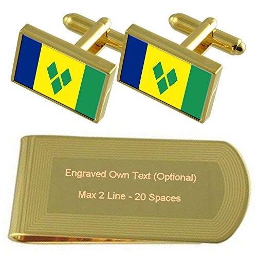 St. Vincent und die Grenadinen Flagge Gold-Manschettenknöpfe Geldscheinklammer Gravur Geschenkset