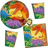 Dino-Saurier 32 tlg. Partygeschirr Servietten Becher Teller für eine Dino-Party für 8 Kinder