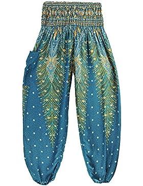 laamei Mujer Pantalones Harén Boho Pantalón Bombacho Aladin Harem con Cintura Elástica Estampados Pantalones Baggy...