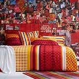Essix - Drap Housse Destination Satin de coton Multicolore 160 x 200 cm