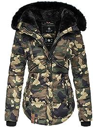 Marikoo Damen Winter Jacke Steppjacke Kunstfell Kragen Teddyfell Warm LTSBL d1bf72cf74