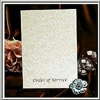 Arazzo avorio vintage floreale applique ordine di servizio wedding Program argento goffrate inserti Inc for you to Print x 10