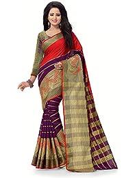 Venisa Women's Bhaglpuri Cotton Silk Saree With Blouse Piece (06-Jenna_Red-Purple_Free Size)