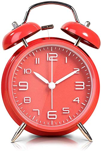 Vintage Reloj Despertador de Doble Campana, Silencioso Analogico Despertadores de Viaje para Infantil...