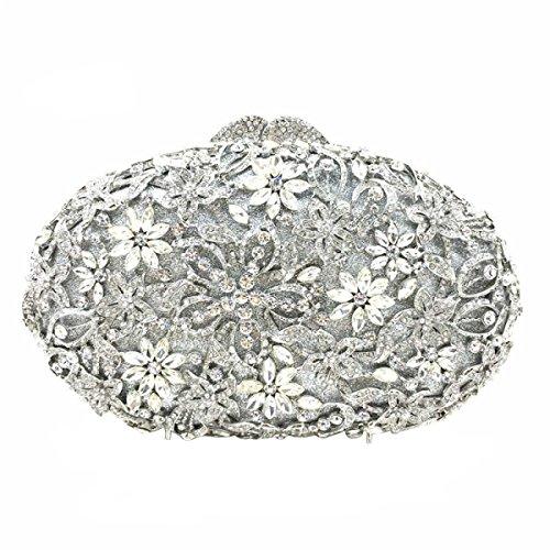 Women 's Frizione Fiore Strass In Cristallo Sacchetto Di Sera Silver