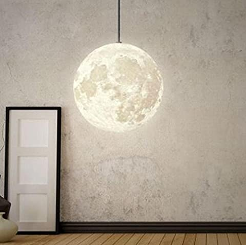 GFFORT 3D print Moon light Round ball A chandelier Living room lamps Northern Europe Simple circular A chandelier Light in the bedroom Cozy Restaurant lamps (200mm) white light