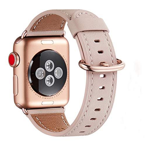 WFEAGL Kompatibel mit Smart Watch Armband 38mm 40mm,Top Grain Lederband Ersatzband mit Edelstahl-Verschluss Kompatibel für Smart Watch Serie 4/3/2/1, (38mm 40mm, Rosa Sand2+Rosé Gold2 Adapter)