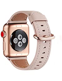 WFEAGL Compatible with iWatch Strap, Top Grain Leather Strap Replacement Band with Stainless Steel Clasp Compatible with iWatch Series 4/3/2/1, Sport, Edition