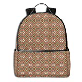 College School Backpacks,Ancient Culture Elements Ethnic Asian Style Old Fashioned Motif Pattern,Casual Hiking Travel Daypack