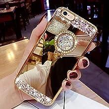 Yobby Spiegel Hülle für Samsung Galaxy S9 Plus,Gold Handyhülle mit Süß Ringhalter Ständer Glitzer Diamant Bling Kristall Strass Schlank Weich Gummi Bumper Schutzhülle