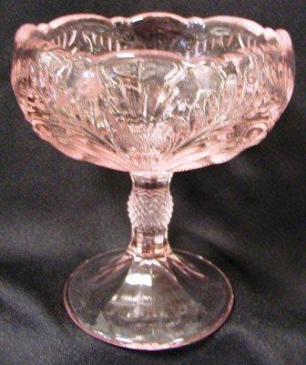 Große 20,3cm Pink Glas Kompott Ständer Schale seitenverkehrt Distel Muster (Candy Glass Dish Pattern)