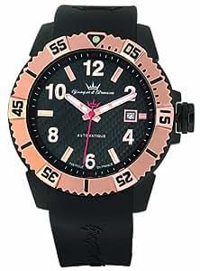 Yonger & Bresson - YBH 8319-15 - Montre Homme - Automatique Analogique - Cadran Rouge - Bracelet Silicone Noir
