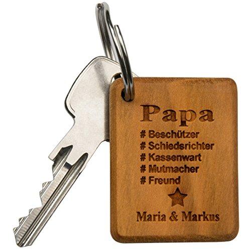 Schlüsselanhänger bester Papa Holz - Vatertagsgeschenk personalisiert