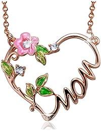 """Angelady """"Love You Mom"""" ??Heart Shaped Anhänger Halskette Gravierte """"MOM"""", Made mit Swarovski Kristall, Geschenkidee"""