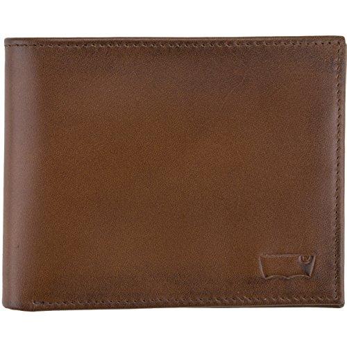 Bifold borsa in pelle intarsio maschile di Levi (12x10x2cm LxAxP) - Marrone, Nero: Colour: Brown
