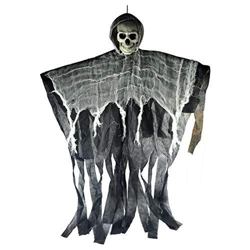 Haus Sensenmann Kostüm - WSJDE 100 cm Schädel Halloween Hängen Ghost Haunted House Hängen Sensenmann Horror Requisiten Hause Tür Bar Club Halloween Dekorationen