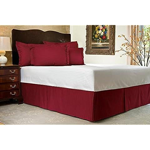 600TC cotone egiziano Biancheria da letto 1x Split angolo gonna letto 14cm (35) Drop & strisce, tutte le dimensioni, Burgundy, Euro Single IKEA