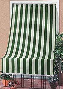 Tenda da sole tessuto resistente per esterno con anelli lavabile frange pizzo - Verde - 140x300 cm