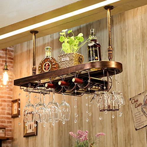 Weinregal Top hängende Massivholz kreative dekorative Rack Glas Lagerregal Große Kapazität (Color : Bronze, Size : 60 * 28 * 31cm) (Weinregal Top)