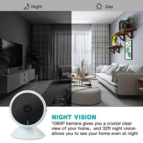 Panamalar Cam/éra de Surveillance IP Cam/éra WiFi sans Fil 1080p Cam/éra Int/érieure Connect/ée avec Alexa et Google Home Vision Nocturne//2 Voies Audio//pour S/écurit/é /à la Maison//B/éb/é//Animaux