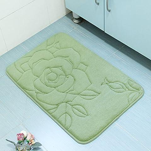 Ouatine de corail de l'eau tapis salle de bain tapis tapis de bain,Vert 50x80cm
