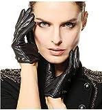 Lannister Fashion Handschuhe Damen Herbst Und Winter Bekleidung Warme Kurze Mode Lederhandschuhe Fausthandschuhe (Color : Schwarz, Size : M)