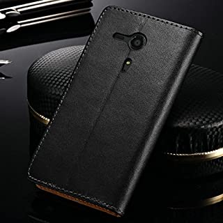 achievess (TM) Classic Echt Leder Ständer Design Schutzhülle für Sony Xperia SP M35h C5302C5303C5306, aus Leder mit Kartenschlitzen