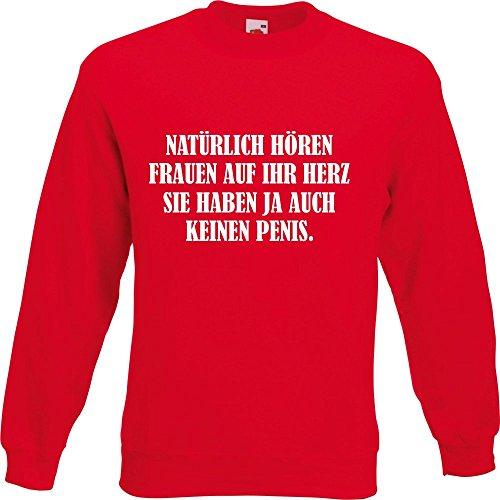 Pullover - Natürlich hören Frauen auf ihr Herz Rot