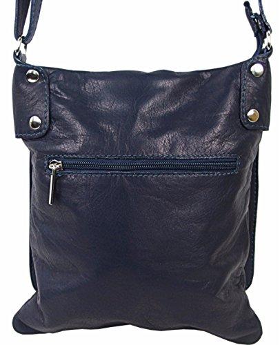 04fddca62a52d ... Echt Leder Umhängetasche Damen Tasche Handtasche Ledertasche  Schultertasche (braun) dunkelblau