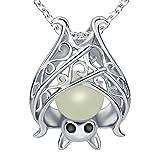 apotie Halloween 925Sterling Silber Cute Fledermaus mit Luminous Stein Charm Anhänger Halskette Schmuck für Frauen Kette 45,7cm
