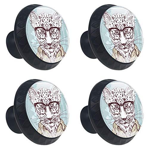 TIZORAX HIPSTER Leopard mit Brille und Anzug Schubladenknauf Zuggriffe 30 mm 4 Stück Glas Schrank Schubladen Zuggriffe für Zuhause Küche Schrank -
