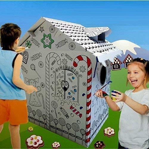Rexco HW218738 - Tienda de campaña de cartón para niños, diseño de casa de Jengibre, Multicolor