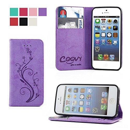 7ce89b191d1 COOVY® Cover für Apple iPhone 5 / 5s / SE Case Wallet Schutz Etui mit