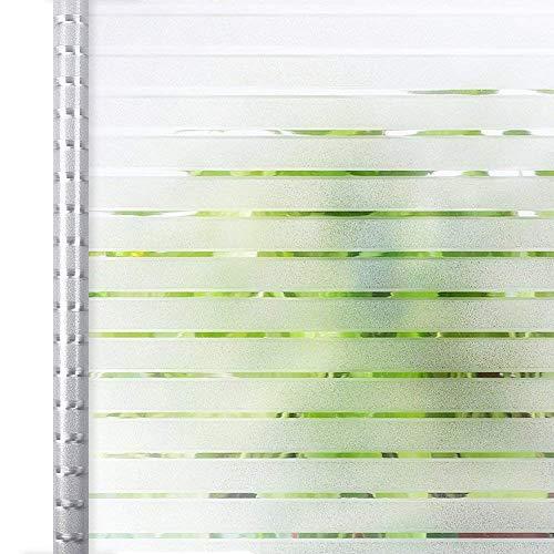 Homein Fensterfolie Streifen Sichtschutzfolie Folie für Fenster Selbstklebend Milchglasfolie Statisch Haftend Klebefolie Transparent Blickdicht Duschkabine Bad Küche Badfenster Büro Tür 90 x 200 cm