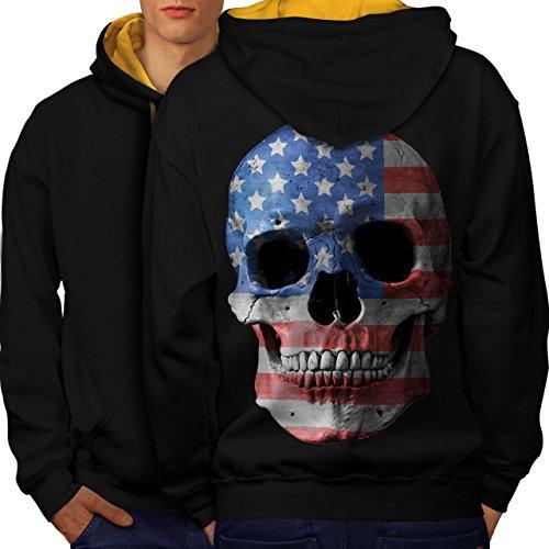 Schädel Flagge amerikanisch USA Tod Gesicht Men M Kontrast Kapuzenpullover Zurück | Wellcoda (Basketball-gesicht Schild)