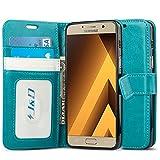 J & D Galaxy A5 (2017) Hülle, [Handytasche mit Standfuß] [Slim Fit] Robust Stoßfest Aufklappbar Tasche Hülle für Samsung Galaxy A5 (Release in 2017) - Türkis