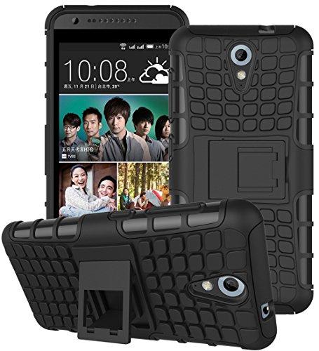 HTC Desire 620 / 620G Hülle Nnopbeclik Hybrid 2in1 TPU+PC Schutzhülle Cover Case Silikon Rüstung Armor Dual Layer Muster Handytasche Backcover 360-Grad-Drehung ständer stoßfest Handy Hülle Tasche Schutz Etui Schale Bumper Pour HTC Desire 620 / 620G [Schwarz]