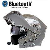 QueenYA Cascos De Moto Modulares Bluetooth + FM Certificación De Punto Turismo Abatibles Sombrilla Motocross Auriculares con Dos Altavoces Integrados Walkie-Talkie Inalámbrico Integrado,L(59~60CM)
