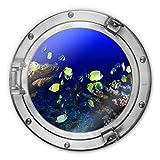 Glasbild rund 3D-Optik Bullauge Bunte Wasserwelt neongelbe Fische Ozean Meer schwimmen Gewässer Korallen Bad Wall-Art Ø70 cm