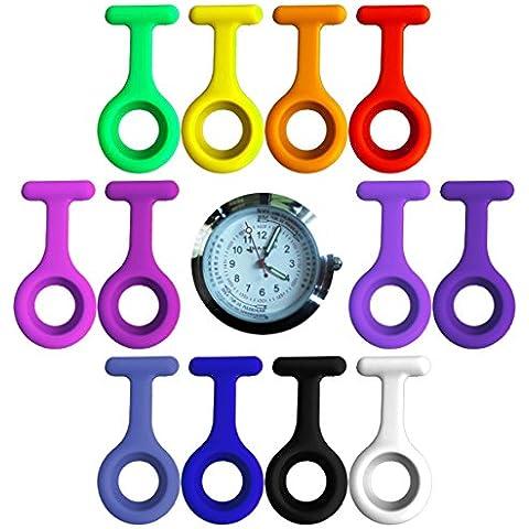 Orologi a clip, set PREMIUM da 12 = 1 x orologio al quarzo giapponese. Meccanismo + 12 casse + 12 spille Orologio a clip Tiga Med con scala delle