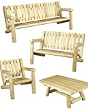 Sofa-Garten, 3 Sitzer, 100% Zedernholz weiß natur, OEM b7kd, Cèdre & Rondins