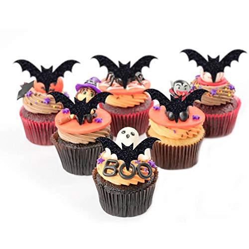 Beimaiji Trade Fledermaus Muster Cupcake Topper, Doppelseitig DIY Kuchen Schnitt Karte Dekorationen für Halloween, Party Supplies