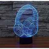 WCUI 3D lámpara de mesa pequeña, creativa llevó auriculares lámpara de mesa de siete colores táctiles luces visuales decoración de la boda USB insertar día de San Valentín lámpara de mesa interruptor táctil Seleccionar ( Tamaño : 256*163*87mm )