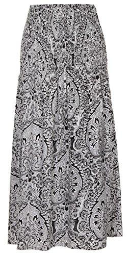 Pistachio Damen 3 In 1 Blumen-bandeau Midi Kleid schwarz/weiß Paisley