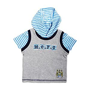 Manchester City Football Club Baby Boys Mock Hoody T-Shirt with 'MCFC' (Grey, 18 to 23 Months)