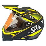 WenYan Motocross Quad Crash DH Helm DOT Certified-Spark Full Face Off Road Downhill Dirt Bike MX ATV Motorbike Helm für Erwachsene Männer Frauen Yellow Spark,XL(60~61CM)