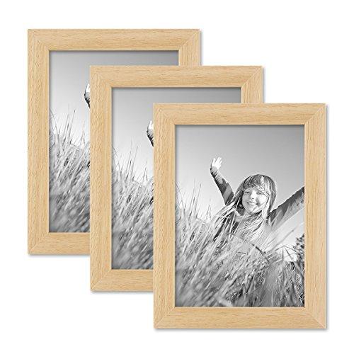 Kiefer-holz-rahmen (3er Set Bilderrahmen 13x18 cm Kiefer Natur Modern Massivholz-Rahmen mit Glasscheibe und Zubehör / Fotorahmen)