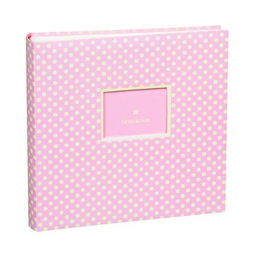 Semikolon Jumbo Album Baby Rose ( Rosa-weiß gepunktet) | Baby-Foto-Album | FMit 100 Seiten | Foto-Buch zum einkleben mit 50 Blättern cremeweißem Fotokarton mit Pergaminpapier | Format: 30 x 30 cm (Foto Album Baby)